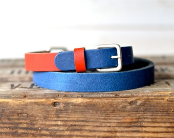 Leather Belt, Navy and Red, Gift for wife,Women leather belt, Gift for her, Mom gift, Nautical Leather Belt,gift for him