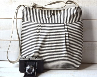 Diaper bag, Messenger bag, black canvas bag, striped bag, Gift for her, geometric bag, nautical striped, Gift for mom, crossbody bag