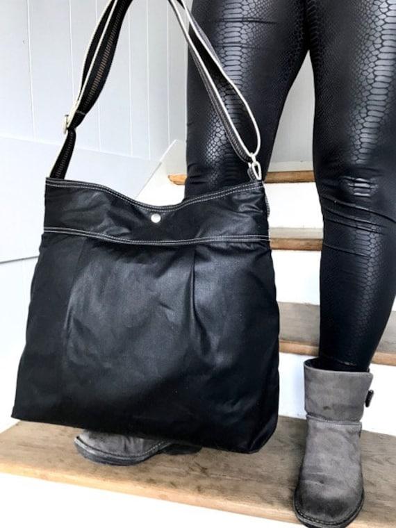 03d436783 Black Diaper bag Waxed canvas bag Messenger bag adult bag | Etsy