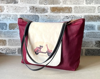 Waxed canvas tote bag in red ,Shoulder bag with Leather straps, Messenger bag , Back to school bag IKABAGS 2 Way Tote bag