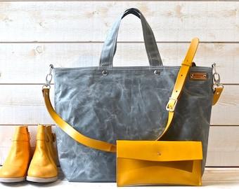 Grey canvas tote bag with Adjustable Leather strap, Travelling bag, Unisex messenger bag IKABAGS 3 WAY