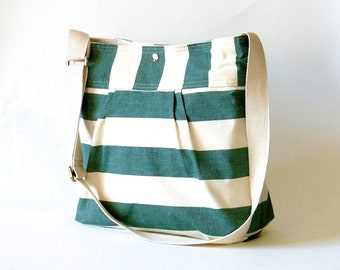 Emerald green Diaper bag, Messenger bag, Canvas bag, Striped bag, Gift for her, Geometric bag, Nautical striped, Gift for mom, Crossbody bag