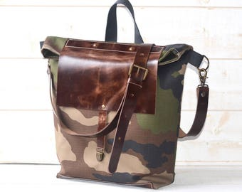 June Birthday Gifts, Camouflage Canvas tote, Adult bag, Messenger bag, crossbody bag, bike bag, travel bag, Graduation gift with leather