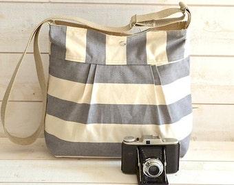Canvas Diaper bag , Crossbody bag, Vegan bag, Weekender bag, Gray striped bag  ikabags 3 way
