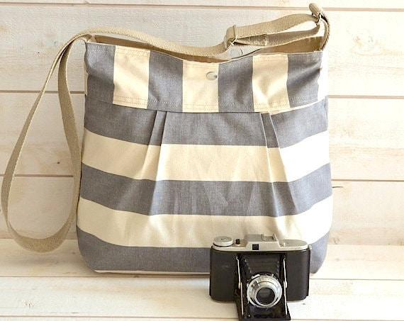 Diaper bag, Waxed canvas bag, Messenger bag, Stockholm Gray striped bag, Gift for her, Gift for mom, geometric bag, nautical striped