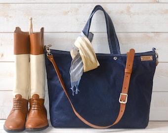 Canvas tote, Waxed canvas tote, Messenger bag, diaper bag, adult bag, gift for her, bike bag, travel bag, leather strap, navy bag