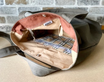 Large Vegan Shoulder bag for women Taupe Grey Twill tote bag , Minimalist Shopping bag or knitting bag
