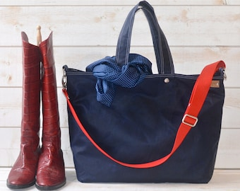 Diaper bag, Waxed canvas bag, Messenger bag, Mom Gift, Gift for her, Tote bag,navy tote bag,work bag, gift for him