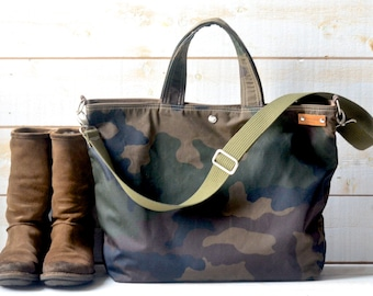 Camouflage Canvas tote, Waxed canvas tote, Messenger bag, diaper bag, adult bag, Camouflage tote, gift for her, bike bag, travel bag