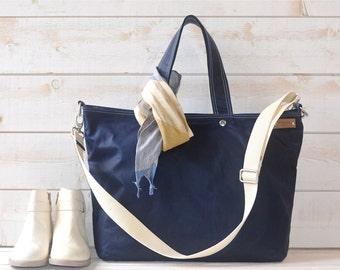 Diaper bag, Waxed canvas bag, Messenger bag, Mom Gift, Gift for her, Tote bag, navy tote bag, work bag, gift for him