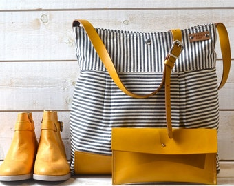 BEST SELLER Diaper bag / Messenger bag Stockholm Black  geometric nautical striped  Leather / Ikabags Featured on The Martha Stewart F1