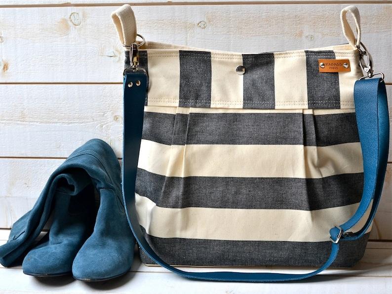 Waterproof Black  Adult Diaper bag/canvas diaper bag/Messenger image 0