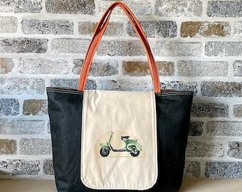 Waxed canvas tote bag, Messenger bag, Shoulder bag, Diaper bag, Leather tote bag IKABAGS 2 Way Tote bag
