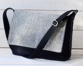Fathers day gift, Black Messenger Bag, Canvas bag, Laptop bag, Shoulder bag, gift for him, Crossbody bag, gift for her,work bag