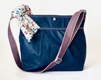 Vegan Diaper bag, STOCKHOLM Blue Sapphire Crossbody daily bag  in 15 colors IKABAGS 3 WAY