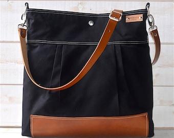 BLACK Diaper bag, Cross body bag, Messenger bag , travel bag ,graduation gift, gift for mom,Stockholm with Leather strap and bottom