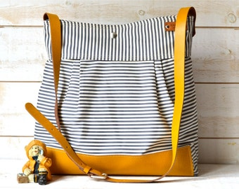 BEST SELLER Diaper bag / Messenger bag STOCKHOLM Gray  geometric nautical striped  Mustard Leather