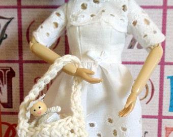 Blythe Doll Eyelet Dress with Tiny Doll and Purse
