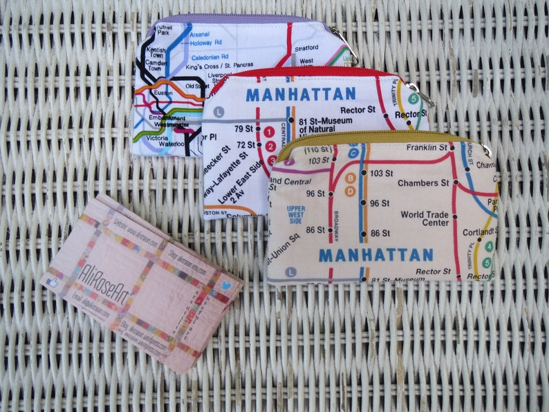 Nyc Subway Map Zippered Wallet.New York City London Fabric Zippered Mini Money Pouches Credit Card Pouch Business Card Pouch Earbud Pouch Gift Card Pouch Coin Purse