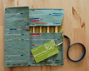 Crochet Hook Case / Organizer / Holder - Arrows Fabric with Metallic Mustard Lining