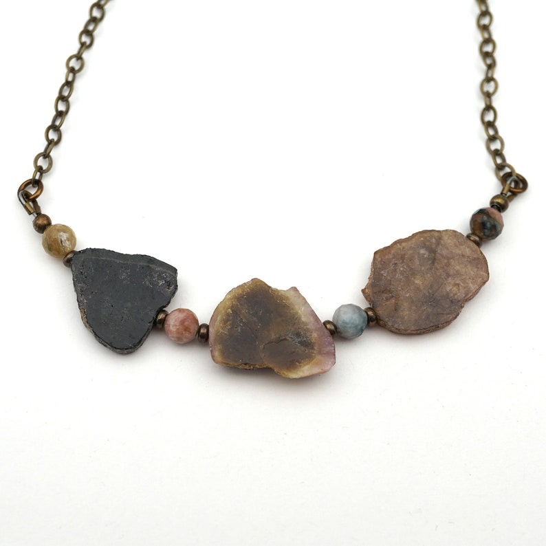 Tourmaline necklace with multicolor faceted sapphire beads and brass chain 19 12 inches long