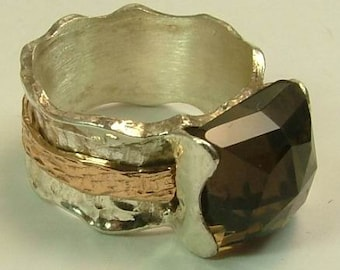 Gemstone ring silver and gold