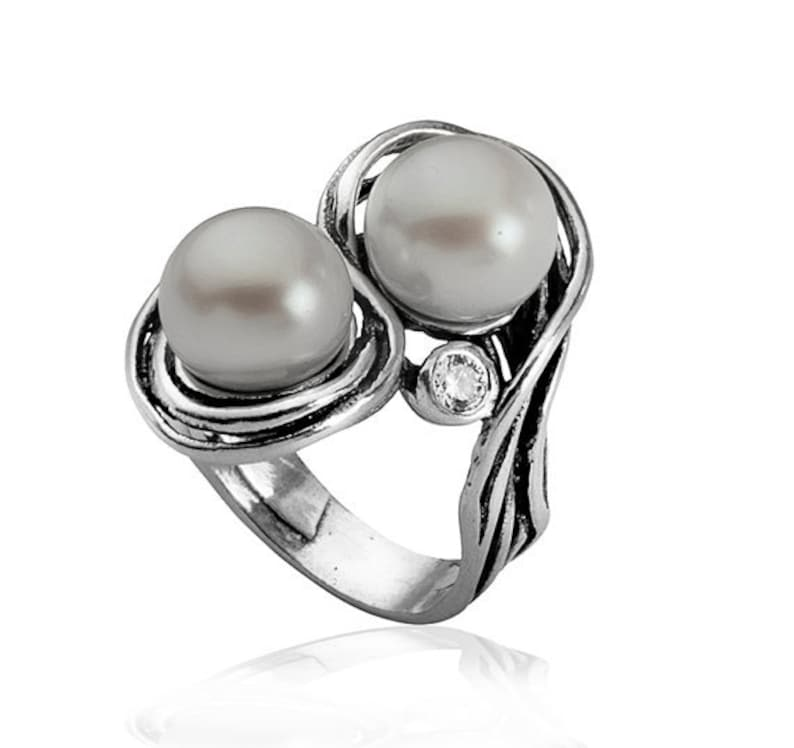 Bluenoemi ring Hanukkah gifts Christmas gift for woman pearls sterling silver ring for woman silver jewelry
