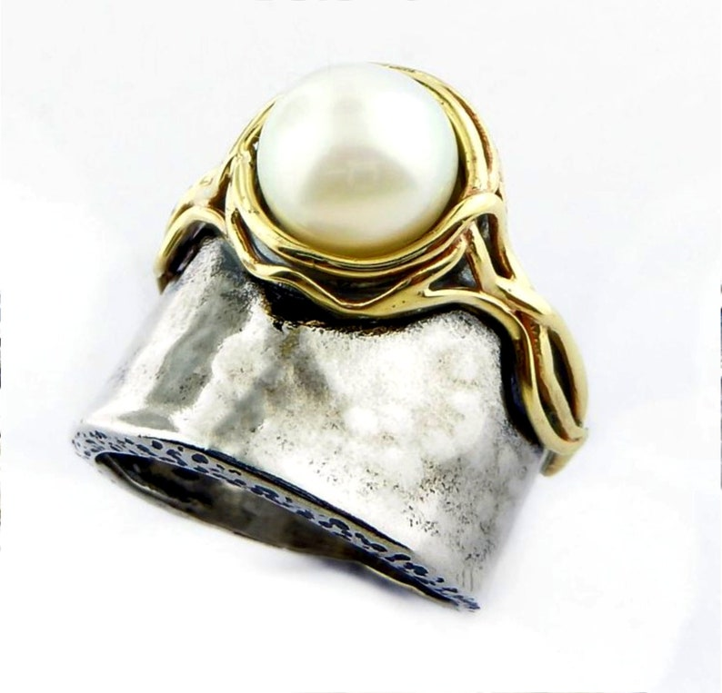 Romantic sterling silver /& gold ring for women bohemian silber ringe f\u00fcr frauen pearl on a silver ring decorated with gold band for woman