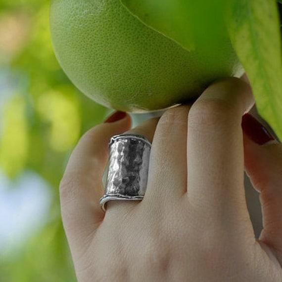 Israeli designer Bohemian ring Sterling silver Hammered Ring Boho Heart blue opal ring