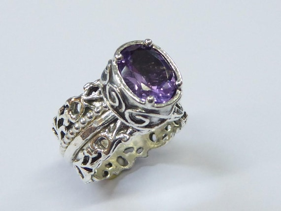 Amethyst zircon for Valentine Gemstone chic ring statement ring Sterling  silver ring for woman Israeli jewelry