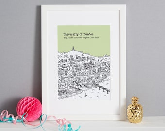 Personalised Dundee Graduation Gift Print   Graduation Gift   Dundee University Gift   Unique Dundee Graduation Gift   Dundee Graduation