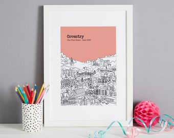 Personalised Coventry Print   Unique Wedding Gift   First Anniversary Gift   Valentines Day Gift   Engagement Gift   Coventry Skyline Print