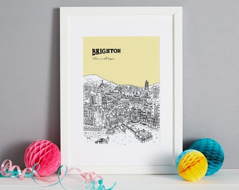 Personalised Brighton Print | Brighton Art | Travel Gift | Anniversary Gift | House Warming Gift | Unique Wedding Gift | Valentines Day Gift