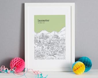 Personalised Lancaster Print   Unique Lancaster Wedding Gift   Lancaster Illustration    Lancaster New Home Gift   Lancaster Gift