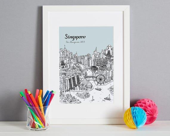 Personalised Singapore Print Travel Related Gift Singapore Etsy
