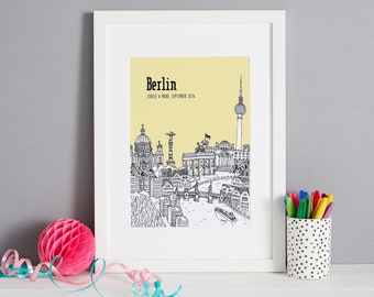 Personalised Berlin Print   Unique Wedding Gift   First Anniversary Gift   Engagement Gift   Berlin Art   Valentines Gift   Berlin Picture