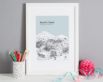 Personalised Amalfi Coast Print | Unique Wedding Gift | First Anniversary Gift | Valentines Day Gift | Engagement Gift | Tessa Galloway
