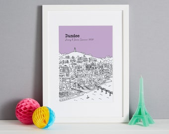 Personalised Dundee Print   Unique Wedding Gift   Dundee Illustration    Dundee Engagement Gift    Dundee Wedding Gift   Dundee Sketch