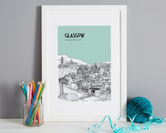 Wedding Gifts Glasgow: Personalised Glasgow Print Unique Anniversary Gift City
