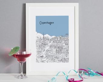 Personalised Copenhagen Print   Unique Wedding Gift   Copenhagen Illustration   Art Prints   Engagement Gift   City Print   Housewarming