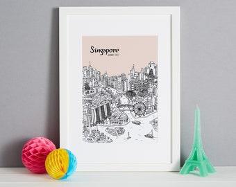 Personalised Singapore Print | Travel Related Gift | SIngapore Gift | Unique Wedding Gift | Custom Engagement Gift | Honeymoon Gift