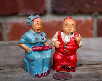 Vintage Maggie and Jiggs Salt and Pepper Shakers by King Features