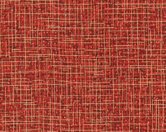 Robert Kaufman Quilter's Linen Print in Crimson and Gold Metallic Fabric by the yard