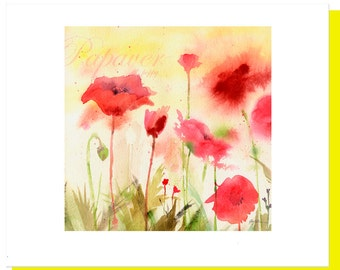 Pink Poppy Watercolor Note Cards