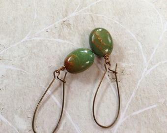 Green Turquoise And Brass Earrings