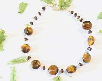 Wire wrapped Tigers Eye and Wood Beaded Bracelet