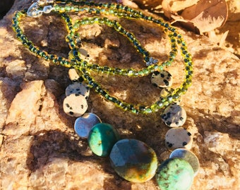Jasper and Howlite Glass Beaded Necklace, Long Beaded Necklace