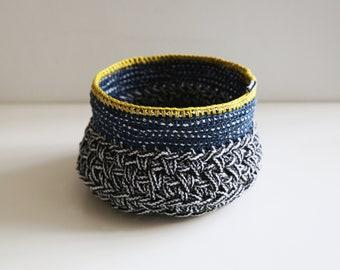 Black and White, Sea blue and Yellow Tribal Basket- Stylish storage
