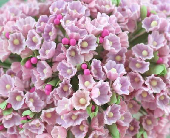Forget me not pink lilac flower bouquet etsy image 0 mightylinksfo