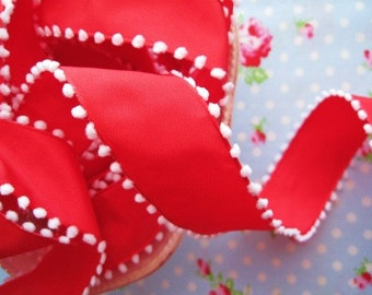Pom Pom Edge Wired - Red and White - Ribbon - 1 1/2 inch - 1 Yard